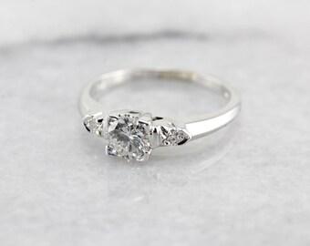 Vintage Diamond Engagement Ring Crafted in 14 Karat White Gold XNJRVU-N