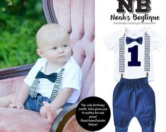 Monochrome First Birthday Outfit Boy Navy Blue - Chevron Suspenders - Navy Blue Pants - Cute First Birthday Outfit Ideas - Bow Tie - Gray