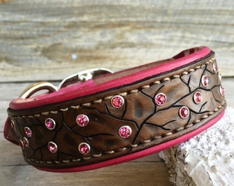 Leather dog collar in pink and brown with pink crystals