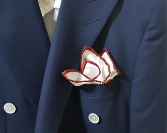 SILK Pocket Square in White with RED Hand rolled Edging