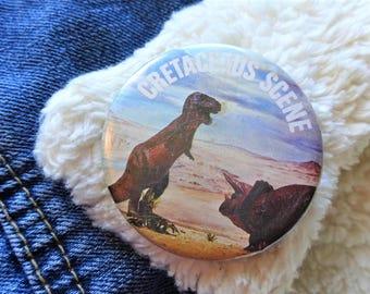 Vintage Retro 80s Cretaceous Scene Dinosaur Triceratops Tyrannosaurus Rex Pin Badge