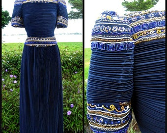 RICHILENE vintage gown / Richilene Fortuny Pleat Gown / Richilene Navy Blue Beaded Gown / fits S-M / 80s Navy Blue Gown / Richilene Dress