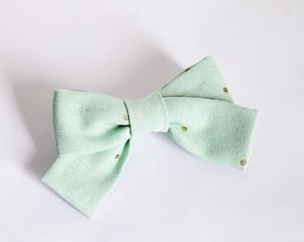Pastel Mint Gold Polka Dot 'Tied Ribbon' Bow Hair Clip