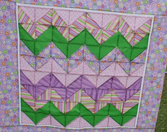 Unfinished Quilt Top Ready to Quilt Lap Throw Baby Quilt Blanket Chevron Daisy Purple Green Pink
