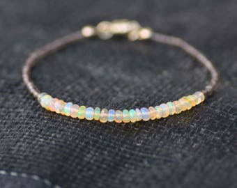 Natural Welo Opal and Smokey Quartz Bracelet 14K Gold Filled , June October Birthstones , 14th Anniversary , Magnetic Clasp , Healing Gems