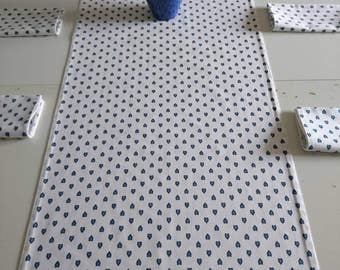 In cotton, provencal pattern reversible table runner