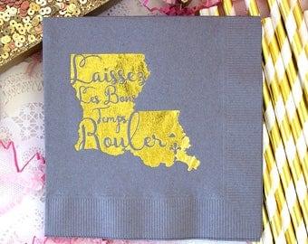 Louisiana Wedding, New Orleans Wedding, Mardi Gras Party, Mardi Gras Napkin, Printed Napkin, Party Napkin, Paper Napkin, Beverage Napkins