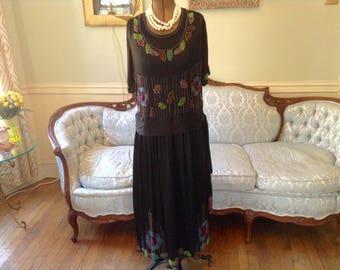 1920s Vintage Heavily Beaded Flapper Dress Black Satin