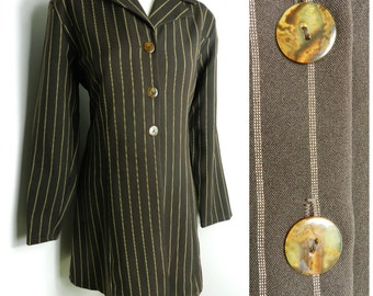 80's 90's POLYESTER brown + cream longline pinstripe suit jacket blazer DEADSTOCK u.k. 14 - 16 M