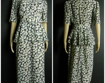 80s polyester floral frilly peplum semi sheer belted dress cream + black u.k. 12 - 14 sm m