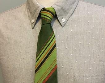 ON SALE Green/Orange/Chartreuse Diagonal Striped Men's Acetate/Rayon Tie c1960s