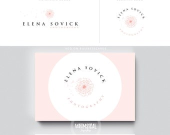 dandelion logo 1 cute female pink businesscards  simple modern feminine branding- logo Identity for Children and family photographer