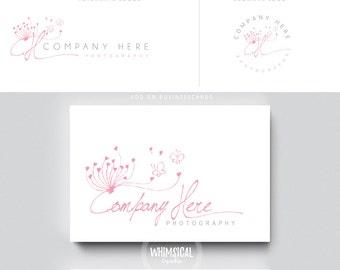 sketchy dandelion 2  brush rose initials businesscards  simple modern feminine branding- logo Identity artist makeup wedding photographer