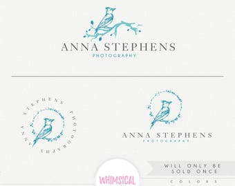 OOAK Artistic Sketchy Bird 2- hand sketched logo - exclusive logo - branding kit products logo sketchy  photographer logo branding- artistic