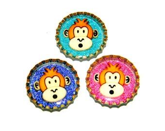 NEW Bottle Cap Magnets - Monkeys - Set of 3 Glitter Resin Filled