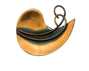 Vintage Copper Leaf Brooch, Large Copper Brooch, Abstract Copper Brooch, Modernist Copper Brooch