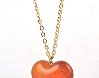 Vintage Heart Caramel Color Vintage Puffy Heart Pendant 1960s