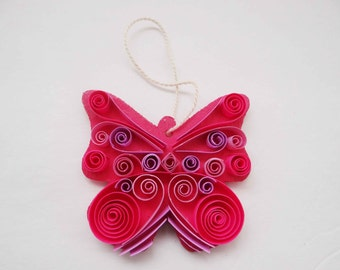 Quilled Pink Butterfly Ornament
