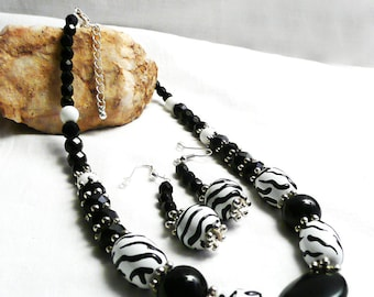 Black and White Zebra Mixed Bead Necklace & Earrings, white jewelry, black beads, up cycled, redesigned jewelry set