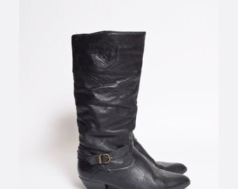 Vintage 80's Black Leather Boots with Buckle