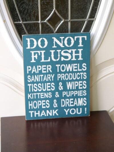 Do not flush septic system rules sign bathroom decor 9x12 for Bathroom ideas 9x12