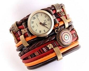 bracelet and a watch, brown, orange,crimson, cuff, stylish watch, boho