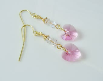 Sweet Swarovski Rose Pink Heart Earrings
