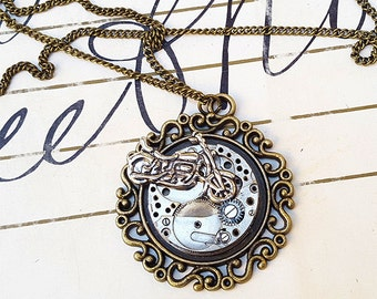 Steampunk Biker Babe Necklace Pendant -Watch Part Necklace- Motorcycle Necklace Gift for Steampunk Lovin - Ride or Die