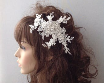 Ivory Bridal Comb, Bridal Comb Headpiece, Crystal Bridal Comb, Flower Wedding Comb, Wedding Hair Piece, Bridal Comb