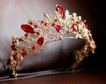 Golden Red Retro Wedding Crown, Glod Bridal Tiara ,Art Deco inspired Red tiara,Golden Metal Wedding Hair Accessory