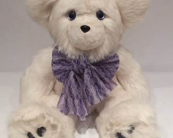 Rabbit Fur Teddy Bear, Real Fur Teddy Bear, Teddybear, White Teddy Bear, Plush Bear, Haleigh, the White Rabbit Real Recycled Fur Teddy Bear