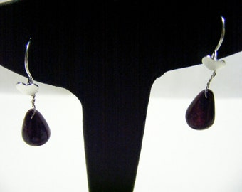 Ruby Drop and Sterling Silver Earrings