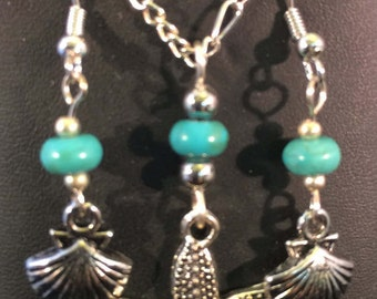 Necklace and Earring Set - Starfish Necklace and Clam Shell Earring Set with Turquoise Beads - FREE SHIPPING