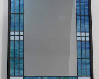 Framed Mosaic Mirror, Blue/Green Mosaic Mirror, Stained Glass Mirror, Mosaic Art,  608