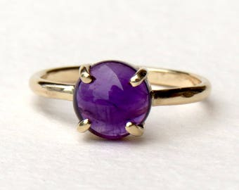Amethyst jewelry, amethyst ring, gold amethyst ring,  gemstone rings, gold rings, stack ring
