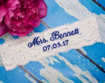 Wedding Garters | Something Blue | Bridal Garter | Monogrammed| Custom | Mrs. | Wedding
