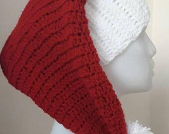 Christmas Sale Crochet Christmas hat , crochet chunky Santa hat , crochetted Santa beanie , father christmas hat , father Christmas beanie