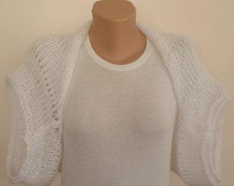 SALE , White knit mohair shrug ,white shrug,knit bridal  shrug,white mohair knit top ,knit mohair shrug top,lightweigt knit mohair bolero