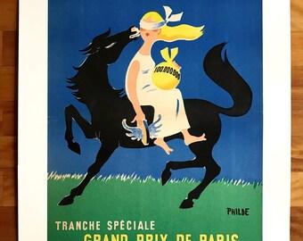 Original Vintage Poster LOTERIE NATIONALE 1957