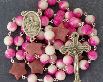 Rosary for Breast Cancer Awareness, St Agatha *Catholic,Christian,pink ribbon,prayer beads,stars,hospital gift,illness,cancer survivor