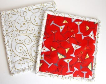 Martinis Hearts Pot Holders Hot Pads Trivets
