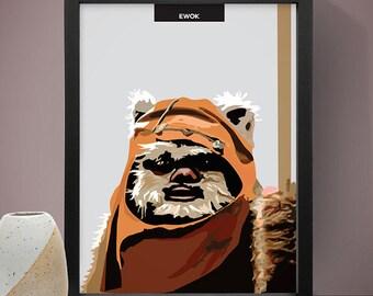 Ewok Star Wars Poster, Star Wars Poster, Star Wars Print, Ewok Poster, Ewok Print, Movie Poster, Film Poster, Wall Print