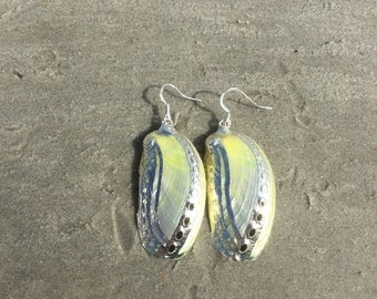 Yellow Abalone Shell Earrings, Yellow Shell Earrings, Yellow Bohemian Earrings, Yellow Shell Beachy Earrings, Yellow Dangle Shell Earrings