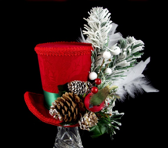 Red, Green, and White Holiday Forest Bird Large Mini Top Hat Fascinator, Alice in Wonderland, Mad Hatter Tea Party, Derby Hat