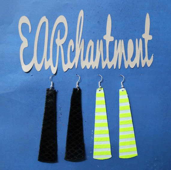 Small Leather strip - Dangle Earring - Drop earring - Variety Sample Pack - 2 Pair leather strip earrings _ LAVISH