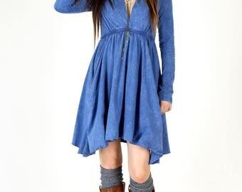Long Sleeve Grecian Goddess Pocket Dress - Blue