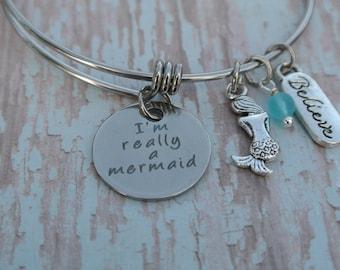 Mermaid bracelet // I'm really a mermaid // Sea Glass // Believe // Mermaid Jewelry