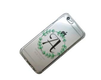 Custom-iPhone Case-Vine Monogram-With Initial-Transparent Clear Phone Case iPhone 6, iphone 7, iphone 5, iphone 6 plus, iphone 7 plus,galaxy