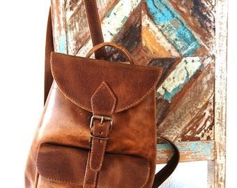 Leather Backpack, Leather Bag, Leather Rucksack, Women Satchel