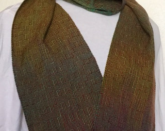 Handwoven Scarf - One Of A Kind Hand Dyed Cotton Jewel Tones Scarf- Hand Woven Cotton Lime Green & Burgundy Tencel Scarf